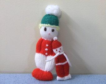 Knit Crocheted Snowmen - Holiday Winter Decor Vintage Handmade