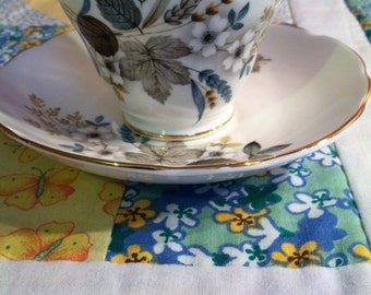 VIntage Regency Tea Cup Set Blue and Silver Made in England Fine Bone China #2021