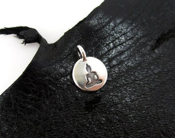 NEW TierraCast Tiny Silver Buddha Disk Charm *YOU Collection*