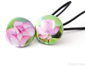 Lotus Flower Hair Ties - Pink Water Flower Hair Accessory - Lotus Flower Gift - Flower Hair Stuff