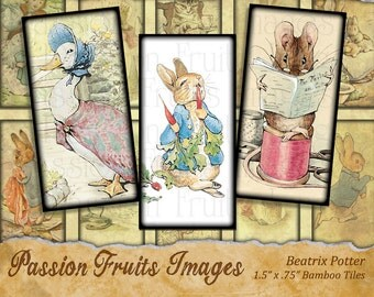 Beatrix Potter Collage Sheet- .75 x 1.5 inch Bamboo Tiles