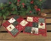 Winter at the Cabin Quilted Mug Rugs Primitve Mug Rugs Set of 2