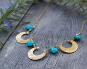 Crescent Moon Necklace, Turquoise, Boho Jewelry, Handmade Jewelry, Gift for Her