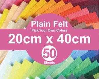 50 Plain Felt Sheets - 20cm x 40cm per sheet - Pick your own color (A20x40)