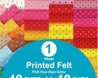 1 Printed Felt Sheet - 40cm x 40cm per sheet - pick your own color (PR40x40)