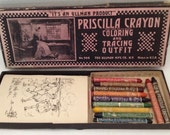 Priscilla Crayon Coloring and Tracing Outfit by Ullman Mfg Vintage Art Toy Made in USA