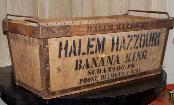 Reduced Antique Wood Storage Box Banana King Extra Large