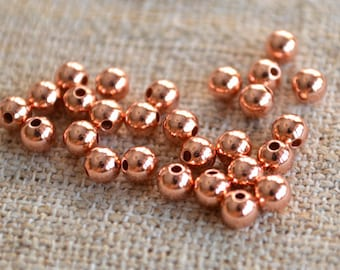 100pcs Copper Metal Beads Solid Shiny Round 5mm