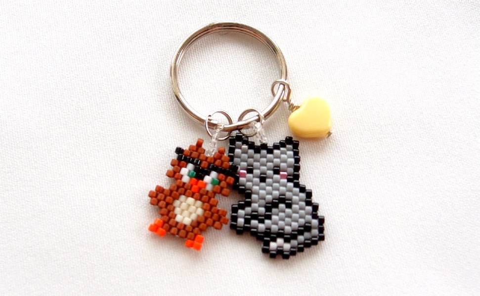 beaded animal keychain the owl and the pussycat gift for