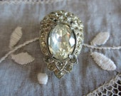 Antique Shoe or Sweater Clip with Rhinestones