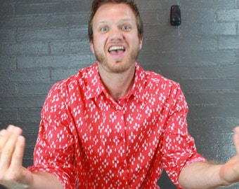 Vintage Red and White Button down shirt By Roman's