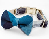 Dog Bow Tie Collar - Blue Plaid