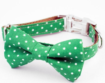 Bow Tie Dog Collar - Green Polks Dot