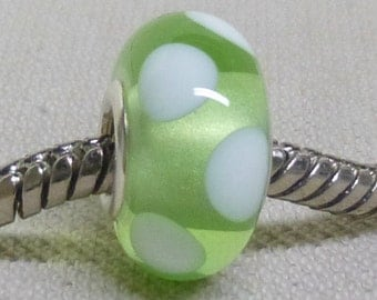 Transparent Pale Green Bead Handmade Lampwork Bead Silver Cored Glass Charm Bead BHB