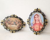 Vintage 1970's Last Super and Virgin Mary small plastic wall hangings - Set of 2