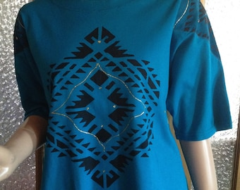 Turquoise 80s Native Print Tee Shirt With Leather Shoulders