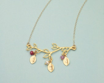 Family Tree pendant, Birthstone Necklace, Gold Branch Necklace,Personalized Jewelry, Mother Necklace, Leaf Charm Necklace,Monogram Necklace,