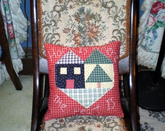 Home Is Where The Heart Is Pillow, Red Plaid Pillow Appliqued Pillow, Pillow, Country Pillow