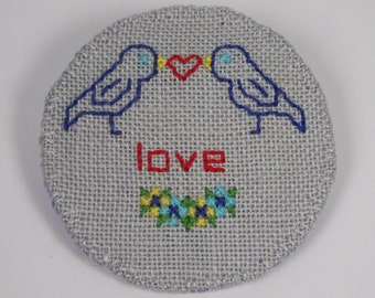 Love Birds. Large Hand stitched badge. Linen brooch.