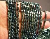 Hematite aqua green - 3mm faceted square - full strand - 144 beads - AA quality - PHG178
