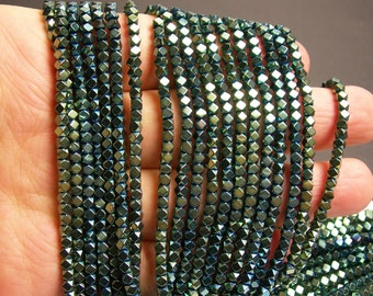 Hematite aqua green - 3mm faceted square - full strand - 144 beads - AA quality - PHG178
