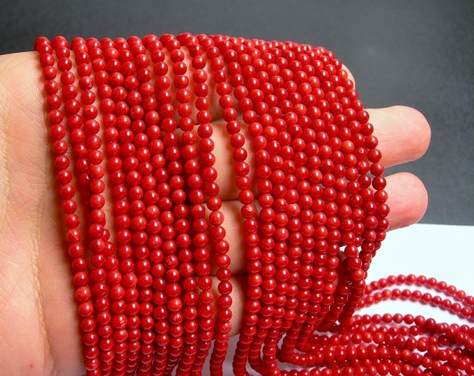 Coral red - 4 ( 3.7mm ) round bead - 1 full strand -  A quality - 109 beads - RFG51