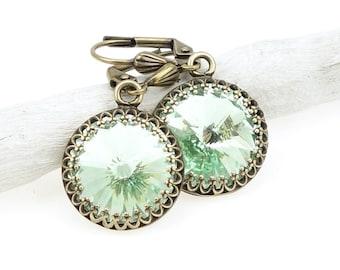 Elegant Vintage Style Mint Green Earrings Filigree Antique Brass Earrings with Swarovski Crystal Ice Green Romantic Vintage Inspired Jewelry
