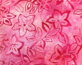 Pink Petunia Batik Gypsy Wrap, size M - yoga headband, hair wrap, dread wrap, pre tied bandana