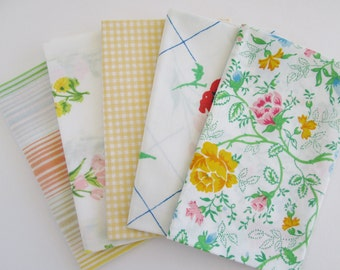 Vintage Sheet Fabric, Reclaimed Bed Linen Fabrics, Fat Quarter Bundle, Sweet Vintage (5 Pack)