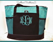 Personalized Turquoise Zippered Large Tote Bag