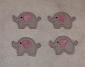 Feltie Machine Embroidered Hand made (4) Felt Elephant CUT Embellishments / appliques