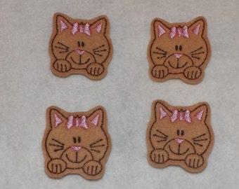Feltie Machine Embroidered Hand made (4) Felt Kitty Cat CUT Embellishments / appliques
