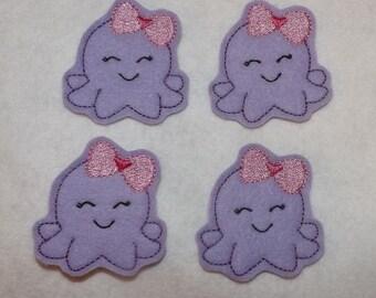 Feltie Machine Embroidered Hand made (4) Felt Octopus CUT Embellishments / appliques