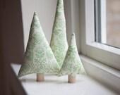 Green Christmas Decoration ~ Deer Christmas Decor ~ Mantle Decor ~ Christmas Trees ~ Set of Three ~ Stocking Stuffer ~ Christmas Fabric