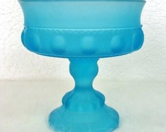 Blue Frosted Goblet/Serving Bowl