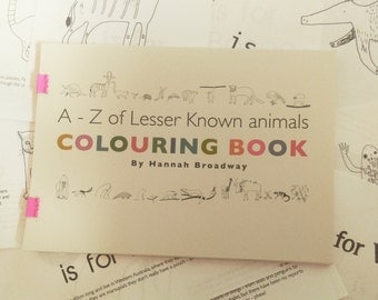 A-Z of lesser known animals colouring book
