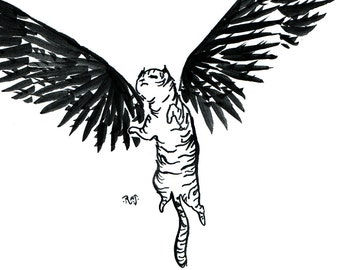 Majestic Cat with Wings black and white print