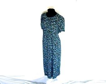 Vintage 90's Short-Sleeved Ankle-Length Blue Floral Tie-Back Dress Women's Large