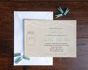 Mason Jar Engagement Party Invitation, Ball Mason Jar and String Lights Wedding Engagement Invite, Southern Rustic Fireflies