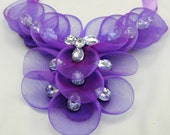 Purple Mesh Bib Necklace/Statement Necklace/Gift For Her/Rhinestone/Wedding Jewelry/Special Occasion/Adjustable/Under 50 USD