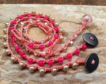 Three American Girl Doll Necklaces Sisters, Friends, Party Favors, pretty in Pink Combo set Pretend Play at it's finest