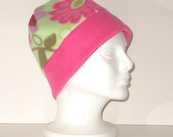 Pink And Green Floral Print With Pink Border Band Adult Fleece Beanie Hat