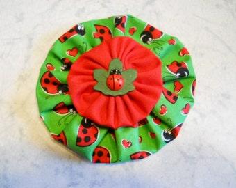 Fabric Flower in Ladybug Fabric
