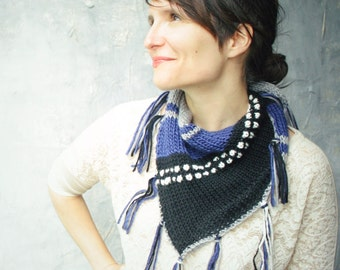 Knitted Fringed Scarf Shawl - Geometric Knit scarf with fringe - Grey Black White Cobalt