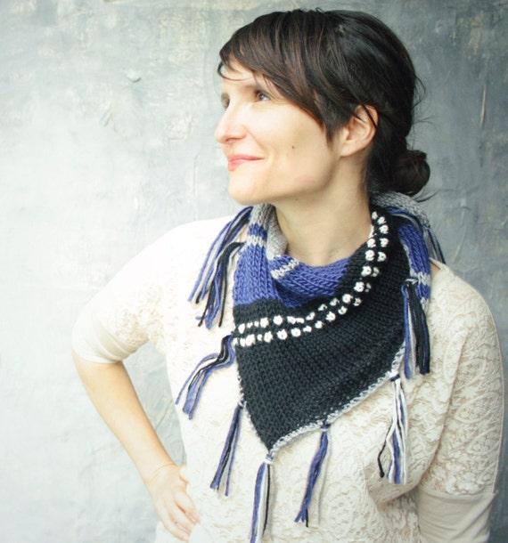 Knitted Fringed Scarf Shawl - Geometric Knit scarf with fringe - Grey Black White Cobalt