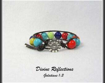 Turquoise Multi Color Bracelet, Turquoise Leather Wrap Bracelet, Gemstone Wrap Bracelet
