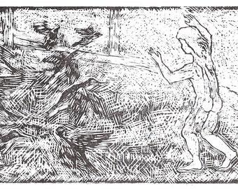 Boy and birds, an original woodblock print