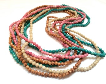 Set of 4 Glass Beaded Long Necklaces Pink Green Brown White Beads Long Necklace Authentic 60s Genuine True Vintage Jewelry artedellamoda