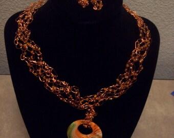 Crocheted Wire Necklace - Orange