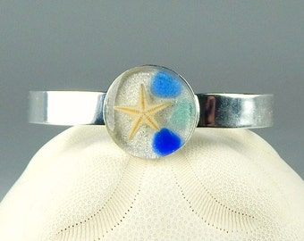 Silver Handmade GENUINE Sea Glass Bracelet Mini Starfish Jewelry In Resin And Blue Seaglass